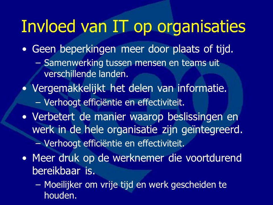 Invloed van IT op organisaties Geen beperkingen meer door plaats of tijd.