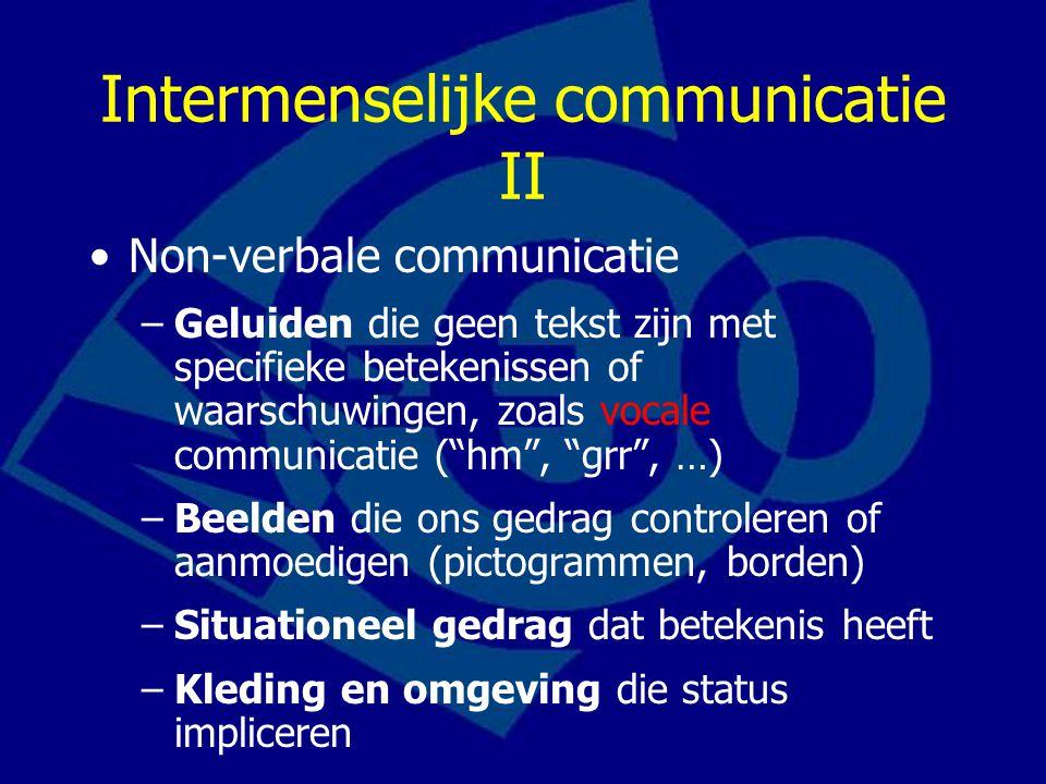Intermenselijke communicatie III Non-verbaal (vervolg) –Lichaamstaal: gebaren, houding, mimiek (gelaatsuitdrukkingen) en andere lichaamssignalen die een bepaalde betekenis overbrengen.