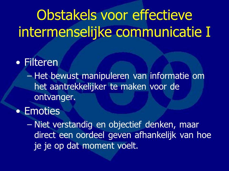 Obstakels voor effectieve intermenselijke communicatie II Informatieoverbelasting –De informatie die we krijgen te verwerken gaat onze verwerkingscapaciteit te boven.