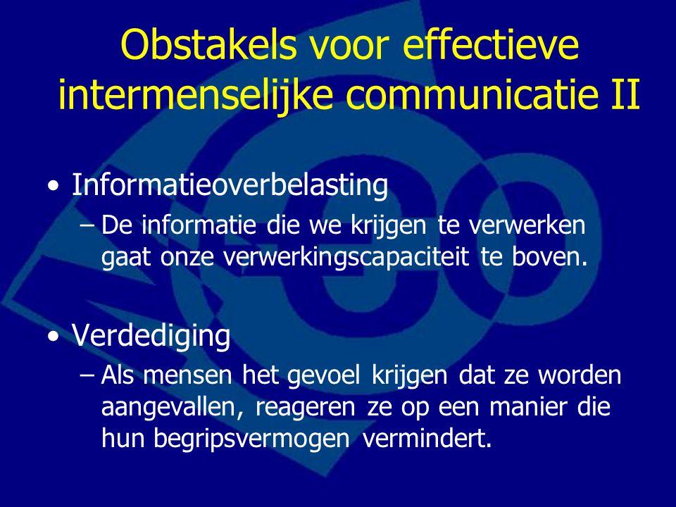 Obstakels voor effectieve intermenselijke communicatie III Taal –Woorden en gespecialiseerde terminologie of technische taal (jargon) die voor een zender een andere betekenis kunnen hebben dan voor een ontvanger.