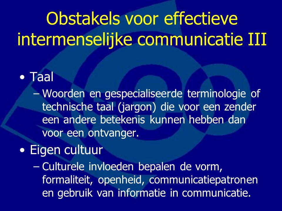 De obstakels wegnemen Gebruik feedback Vereenvoudig je taalgebruik Luister actief Beheers je emoties Let op non-verbale aanwijzingen