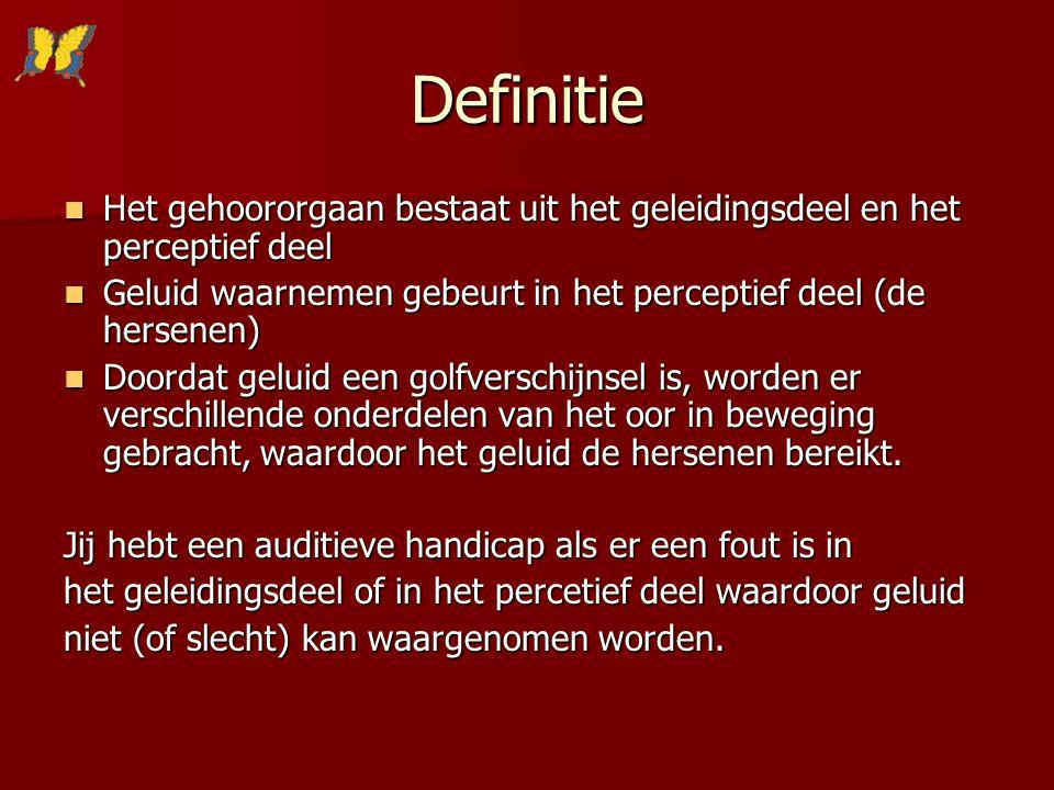 Definitie Het gehoororgaan bestaat uit het geleidingsdeel en het perceptief deel Het gehoororgaan bestaat uit het geleidingsdeel en het perceptief dee