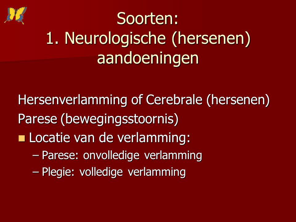 Soorten: 1. Neurologische (hersenen) aandoeningen Hersenverlamming of Cerebrale (hersenen) Parese (bewegingsstoornis) Locatie van de verlamming: Locat