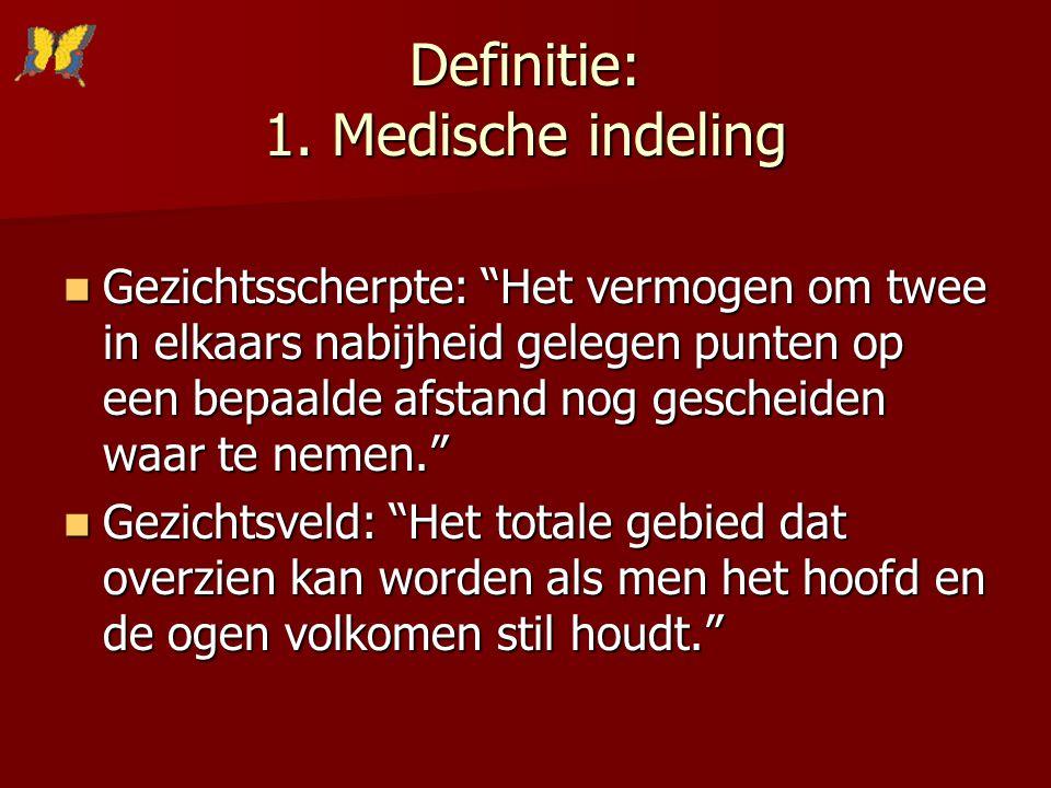 """Definitie: 1. Medische indeling Gezichtsscherpte: """"Het vermogen om twee in elkaars nabijheid gelegen punten op een bepaalde afstand nog gescheiden waa"""
