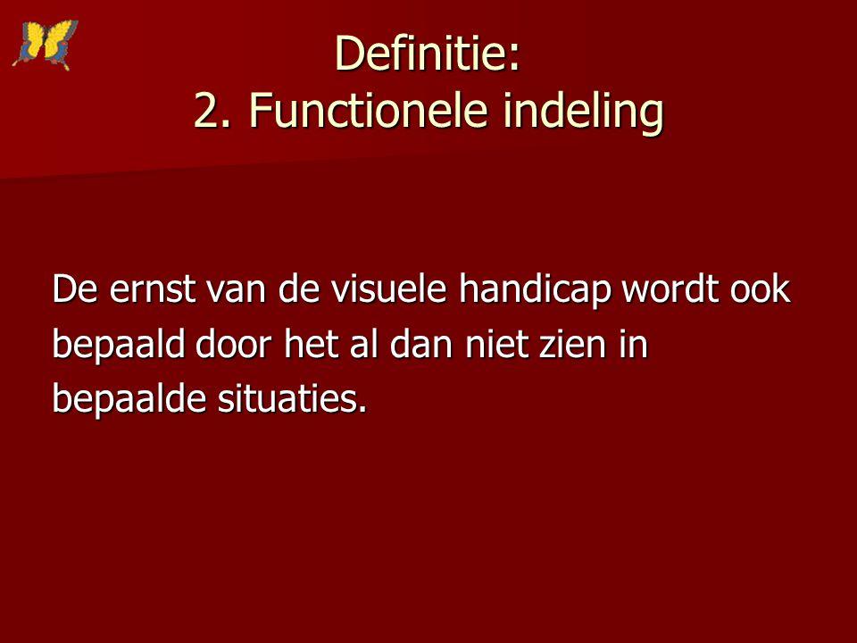 Definitie: 2. Functionele indeling De ernst van de visuele handicap wordt ook bepaald door het al dan niet zien in bepaalde situaties.