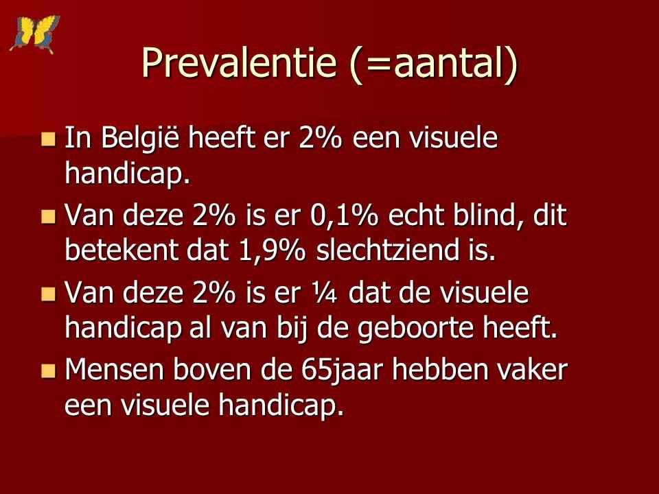 Prevalentie (=aantal) In België heeft er 2% een visuele handicap. In België heeft er 2% een visuele handicap. Van deze 2% is er 0,1% echt blind, dit b