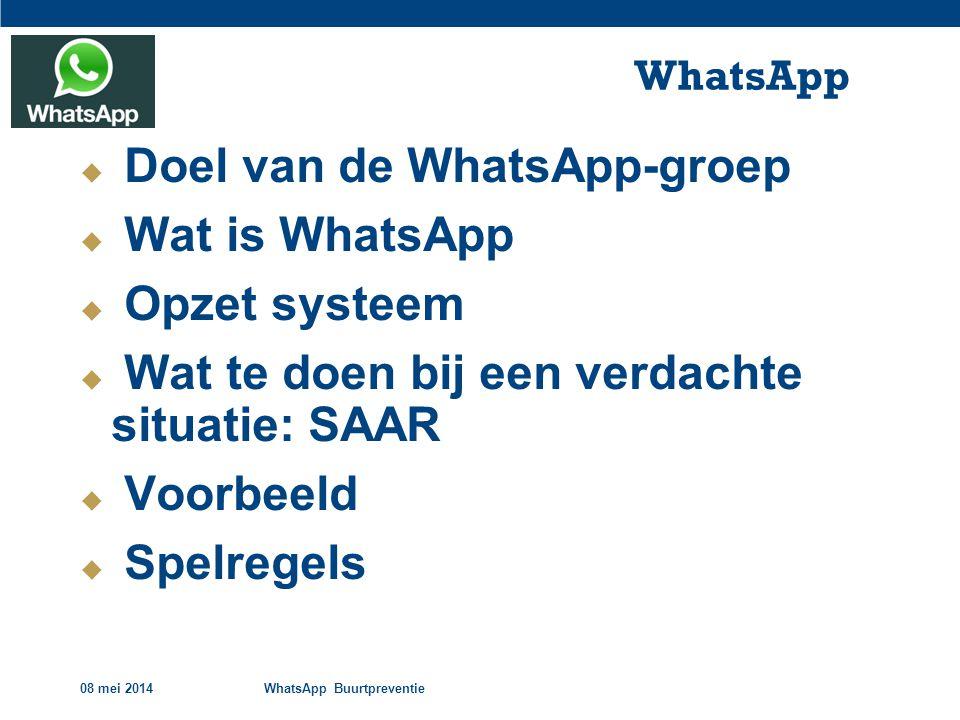 08 mei 2014WhatsApp Buurtpreventie WhatsApp  Doel van de WhatsApp-groep  Wat is WhatsApp  Opzet systeem  Wat te doen bij een verdachte situatie: SAAR  Voorbeeld  Spelregels