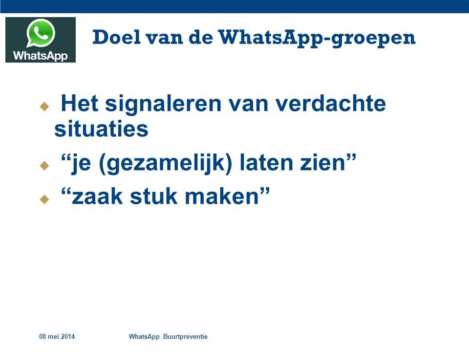 08 mei 2014WhatsApp Buurtpreventie Doel van de WhatsApp-groepen  Het signaleren van verdachte situaties  je (gezamelijk) laten zien  zaak stuk maken