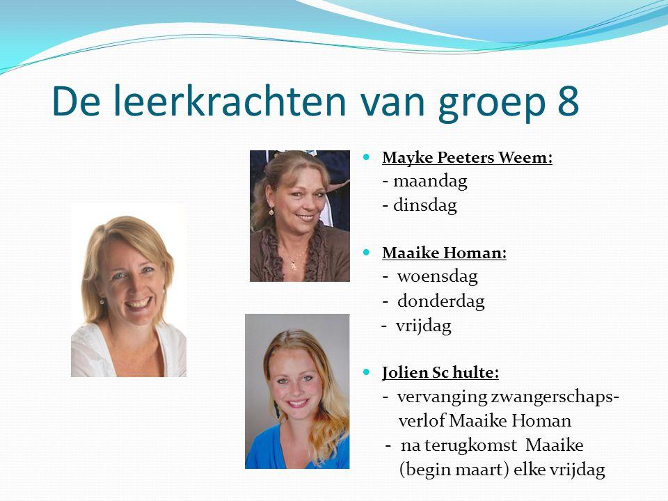 De leerkrachten van groep 8 Mayke Peeters Weem: - maandag - dinsdag Maaike Homan: - woensdag - donderdag - vrijdag Jolien Sc hulte: - vervanging zwang