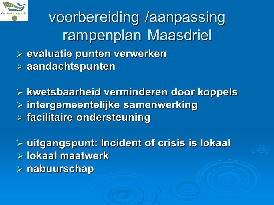 voorbereiding /aanpassing rampenplan Maasdriel  evaluatie punten verwerken  aandachtspunten  kwetsbaarheid verminderen door koppels  intergemeentelijke samenwerking  facilitaire ondersteuning  uitgangspunt: Incident of crisis is lokaal  lokaal maatwerk  nabuurschap