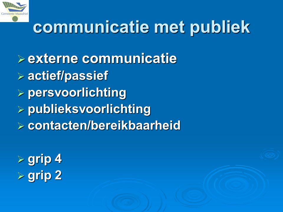 communicatie met publiek  externe communicatie  actief/passief  persvoorlichting  publieksvoorlichting  contacten/bereikbaarheid  grip 4  grip 2