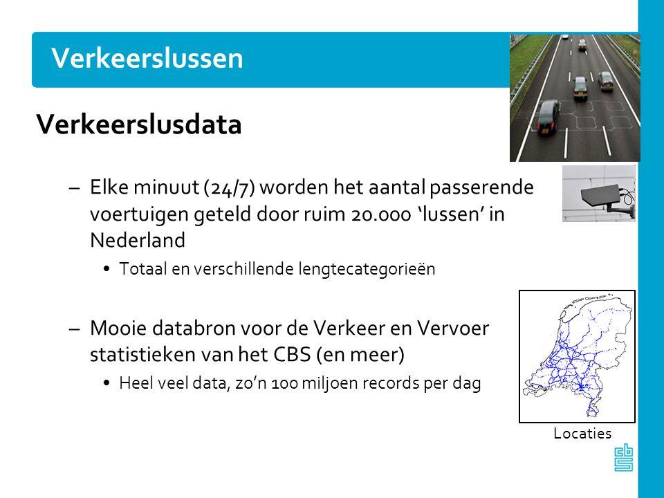 Verkeerslussen Verkeerslusdata –Elke minuut (24/7) worden het aantal passerende voertuigen geteld door ruim 20.000 'lussen' in Nederland Totaal en ver