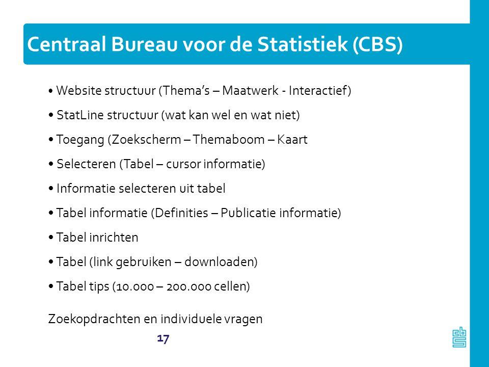 17 Centraal Bureau voor de Statistiek (CBS) Website structuur (Thema's – Maatwerk - Interactief) StatLine structuur (wat kan wel en wat niet) Toegang