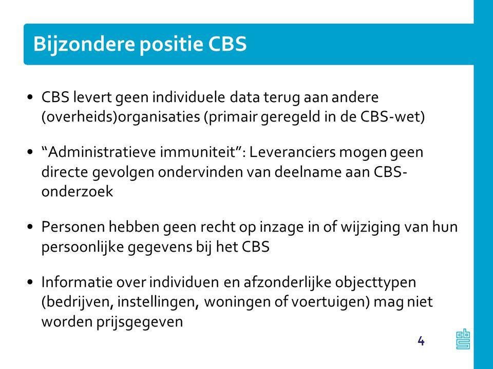 """Bijzondere positie CBS CBS levert geen individuele data terug aan andere (overheids)organisaties (primair geregeld in de CBS-wet) """"Administratieve imm"""