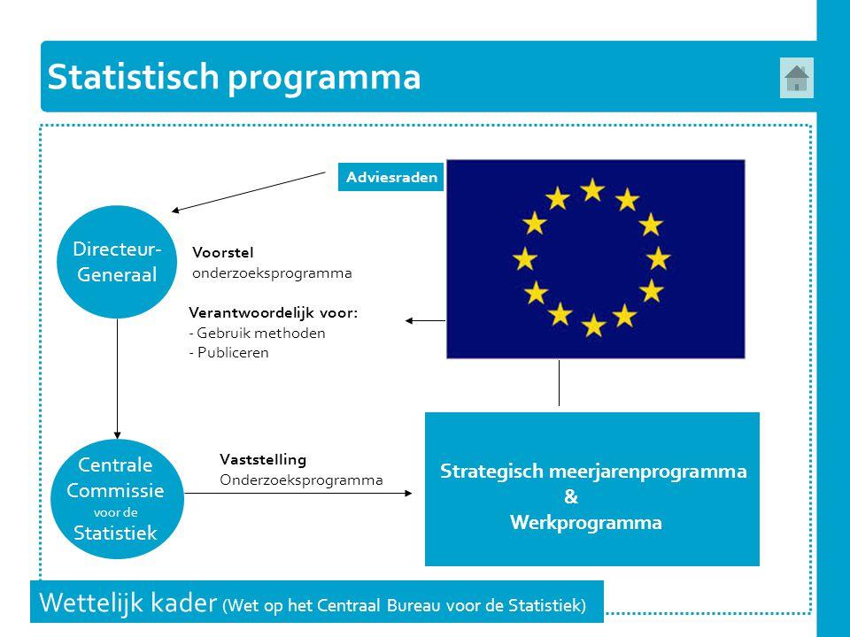 Statistisch programma Wettelijk kader (Wet op het Centraal Bureau voor de Statistiek) Directeur- Generaal Centrale Commissie voor de Statistiek Voorst