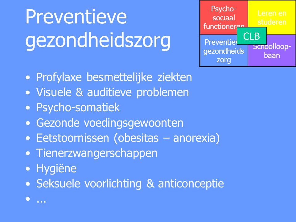 Preventieve gezondheidszorg Profylaxe besmettelijke ziekten Visuele & auditieve problemen Psycho-somatiek Gezonde voedingsgewoonten Eetstoornissen (ob