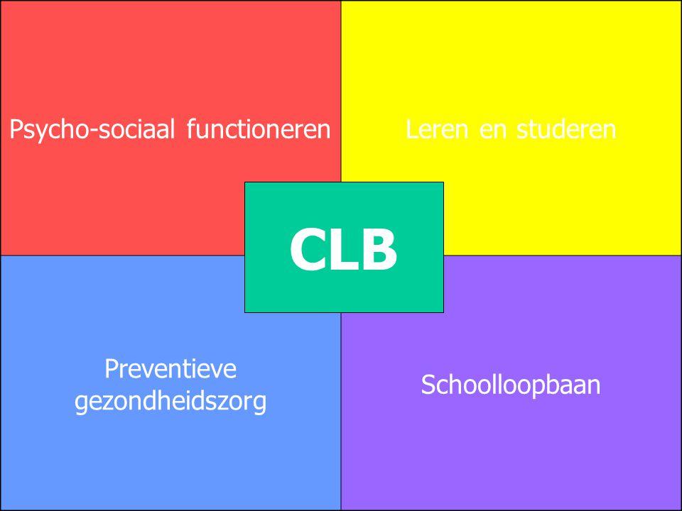 Psycho-sociaal functionerenLeren en studeren Preventieve gezondheidszorg Schoolloopbaan CLB