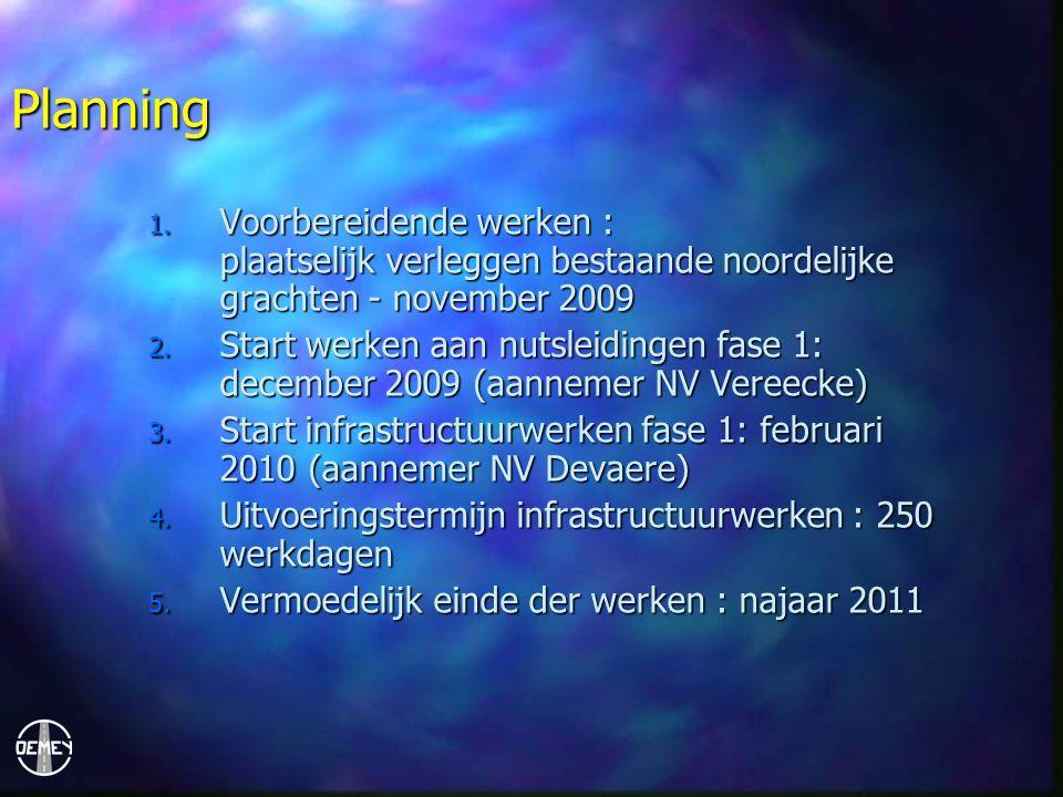 Planning 1. Voorbereidende werken : plaatselijk verleggen bestaande noordelijke grachten - november 2009 2. Start werken aan nutsleidingen fase 1: dec