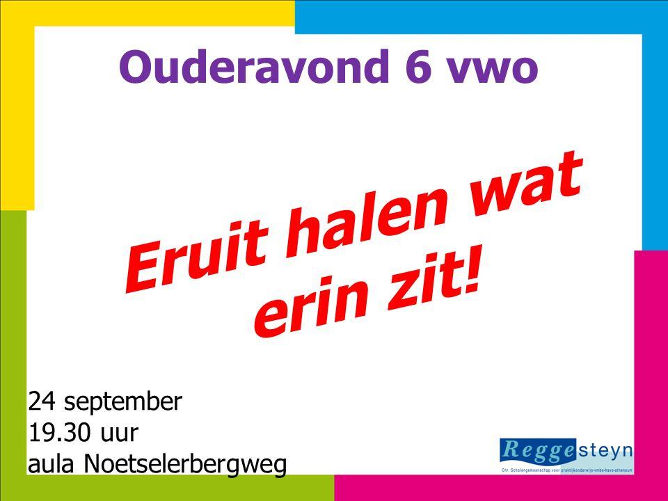 8-7-201411 Ouderavond 6 vwo Eruit halen wat erin zit! 24 septembertember 2013 19.30 uur aula Noetselerbergweg