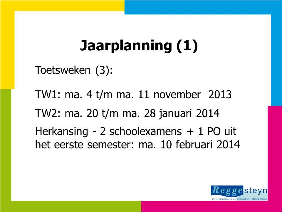 8-7-2014113 Jaarplanning (1) Toetsweken (3): TW1: ma. 4 t/m ma. 11 november 2013 TW2: ma. 20 t/m ma. 28 januari 2014 Herkansing - 2 schoolexamens + 1