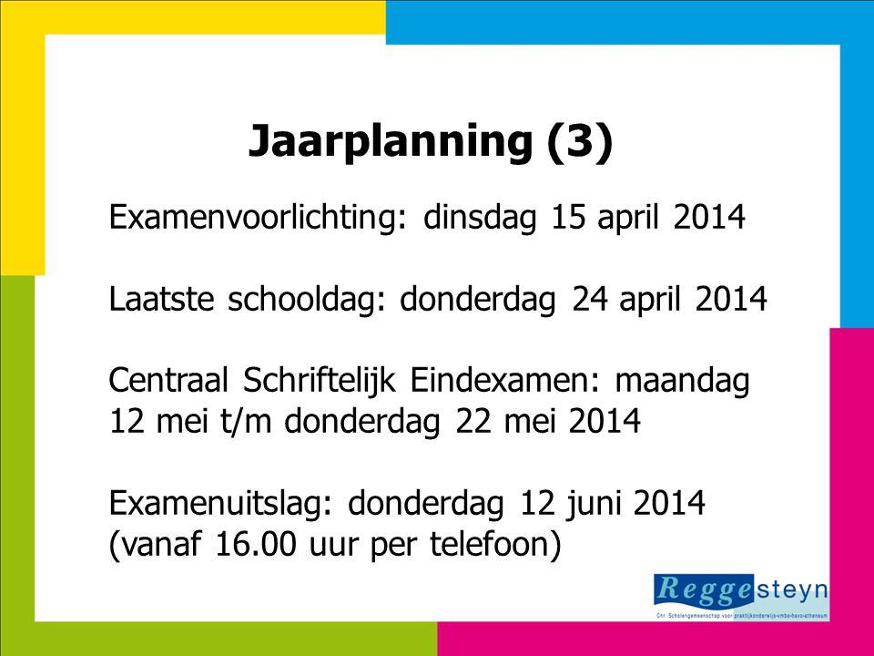 8-7-2014115 Jaarplanning (3) Examenvoorlichting: dinsdag 15 april 2014 Laatste schooldag: donderdag 24 april 2014 Centraal Schriftelijk Eindexamen: ma