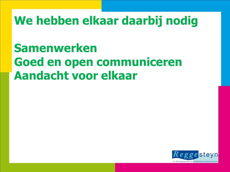 8-7-20145 We hebben elkaar daarbij nodig Samenwerken Goed en open communiceren Aandacht voor elkaar