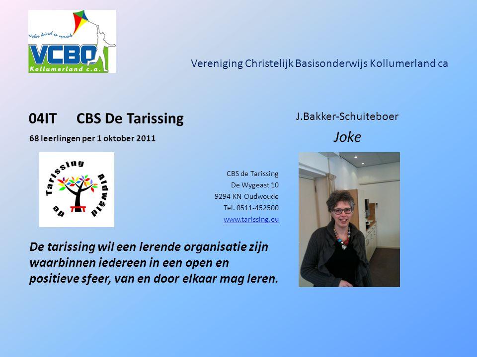 Vereniging Christelijk Basisonderwijs Kollumerland ca 04ITCBS De Tarissing 68 leerlingen per 1 oktober 2011 CBS de Tarissing De Wygeast 10 9294 KN Oudwoude Tel.