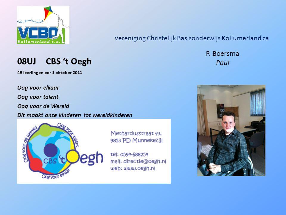 Vereniging Christelijk Basisonderwijs Kollumerland ca 08UJCBS 't Oegh 49 leerlingen per 1 oktober 2011 Oog voor elkaar Oog voor talent Oog voor de Wereld Dit maakt onze kinderen tot wereldkinderen P.