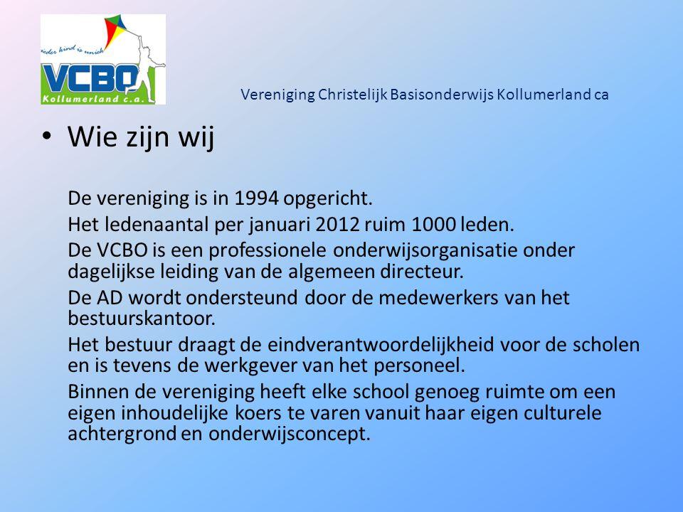 Vereniging Christelijk Basisonderwijs Kollumerland ca Wie zijn wij De vereniging is in 1994 opgericht.