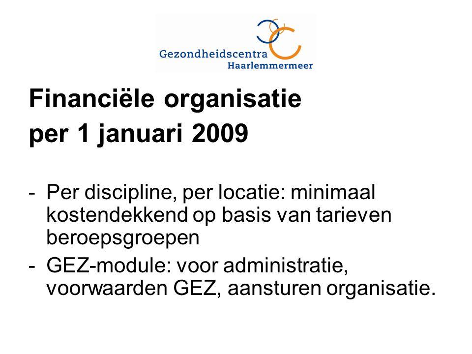 Financiële organisatie per 1 januari 2009 -Per discipline, per locatie: minimaal kostendekkend op basis van tarieven beroepsgroepen -GEZ-module: voor administratie, voorwaarden GEZ, aansturen organisatie.