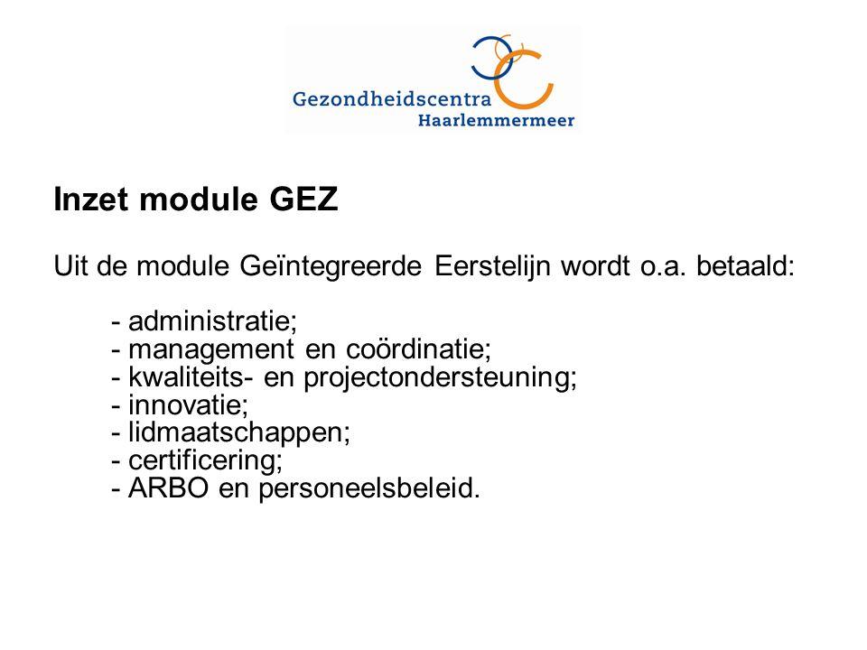 Inzet module GEZ Uit de module Geïntegreerde Eerstelijn wordt o.a.