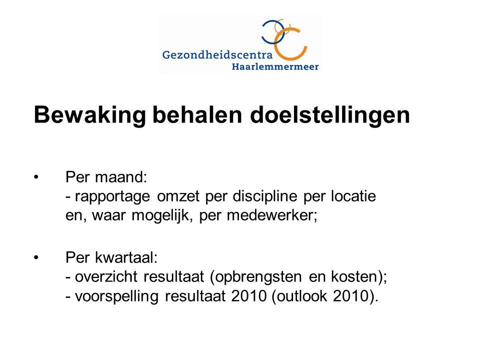 Bewaking behalen doelstellingen Per maand: - rapportage omzet per discipline per locatie en, waar mogelijk, per medewerker; Per kwartaal: - overzicht resultaat (opbrengsten en kosten); - voorspelling resultaat 2010 (outlook 2010).