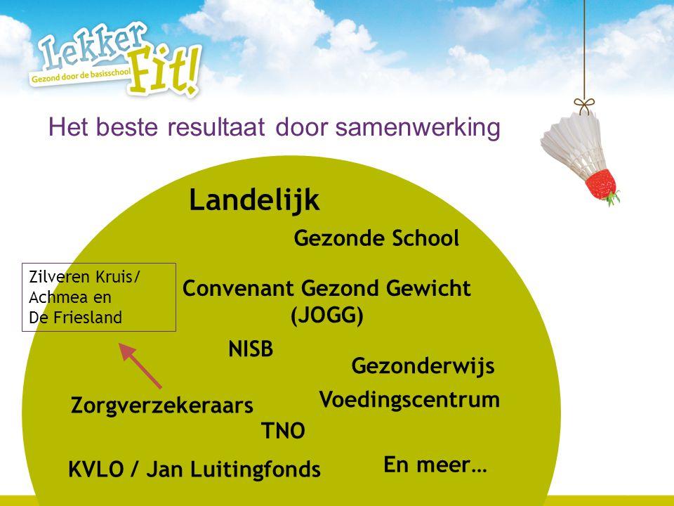 5 Landelijk Zorgverzekeraars Sportservice GGD Brede school Gemeente Sportevents Provincie Jeugdgezondheidszorg Regionaal en lokaal Het beste resultaat in samenwerking