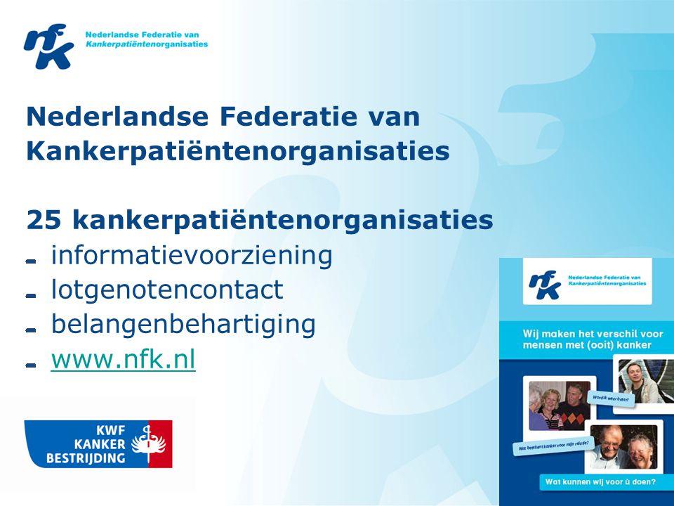 Nederlandse Federatie van Kankerpatiëntenorganisaties 25 kankerpatiëntenorganisaties informatievoorziening lotgenotencontact belangenbehartiging www.nfk.nl