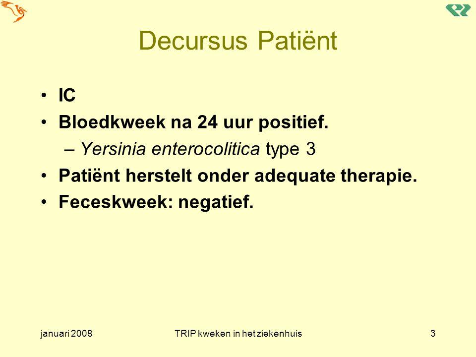 januari 2008TRIP kweken in het ziekenhuis14 Posttransfusie bacteriemie / sepsis (Bacterial TTI) Uit de TRIP definities (volgen later) –Het ontstaan van klinische symptomen van bacteriëmie/sepsis tijdens, aansluitend aan of enige tijd na een bloedtransfusie (uren), waarbij een relevante positieve bloedkweek van de patiënt wordt verkregen en al dan niet een oorzakelijk verband met een toegediend bloedproduct kan worden gelegd.