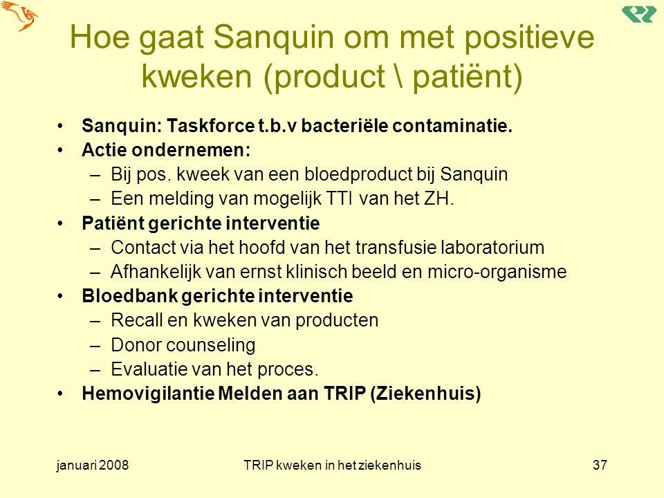 januari 2008TRIP kweken in het ziekenhuis37 Hoe gaat Sanquin om met positieve kweken (product \ patiënt) Sanquin: Taskforce t.b.v bacteriële contamina