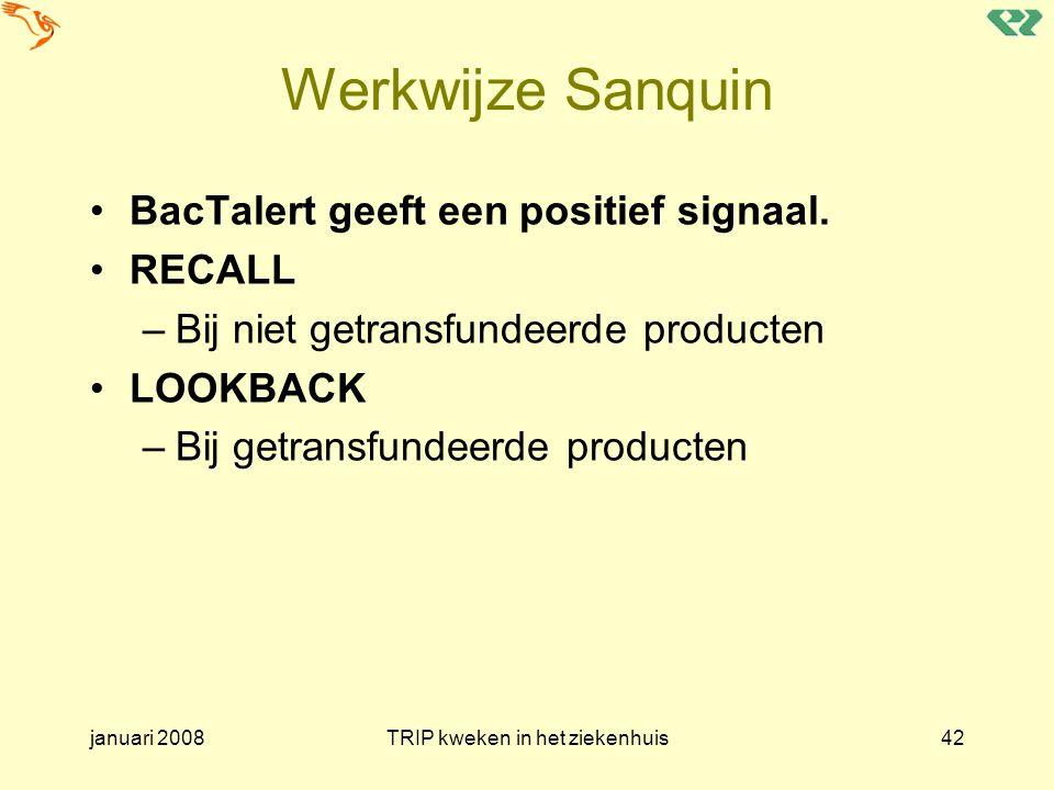 januari 2008TRIP kweken in het ziekenhuis42 Werkwijze Sanquin BacTalert geeft een positief signaal. RECALL –Bij niet getransfundeerde producten LOOKBA