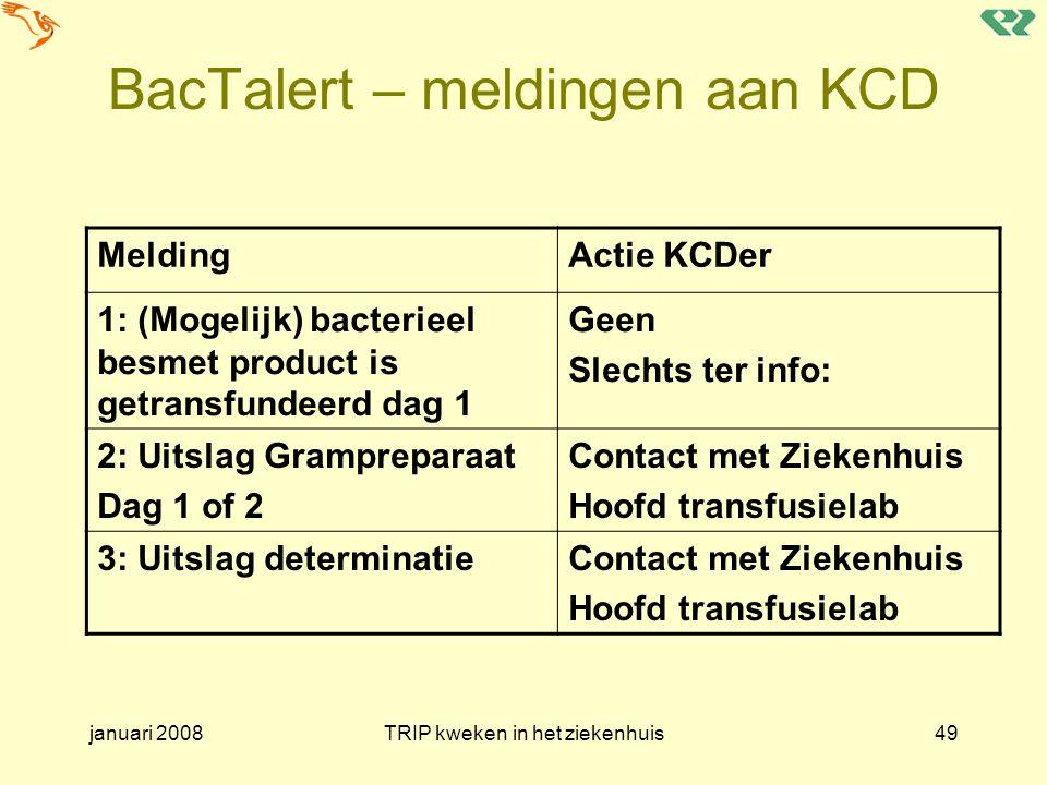 januari 2008TRIP kweken in het ziekenhuis49 BacTalert – meldingen aan KCD MeldingActie KCDer 1: (Mogelijk) bacterieel besmet product is getransfundeer