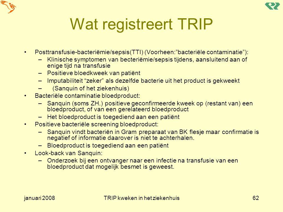 """januari 2008TRIP kweken in het ziekenhuis62 Wat registreert TRIP Posttransfusie-bacteriëmie/sepsis(TTI) (Voorheen:""""bacteriële contaminatie""""): –Klinisc"""