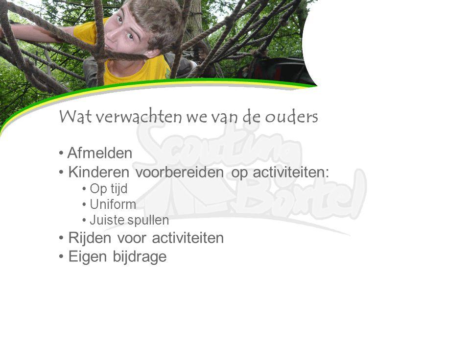 Wat verwachten we van de ouders Afmelden Kinderen voorbereiden op activiteiten: Op tijd Uniform Juiste spullen Rijden voor activiteiten Eigen bijdrage