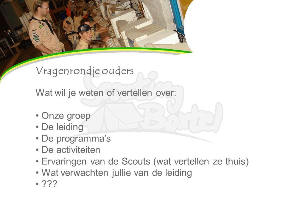 Vragenrondje ouders Wat wil je weten of vertellen over: Onze groep De leiding De programma's De activiteiten Ervaringen van de Scouts (wat vertellen z