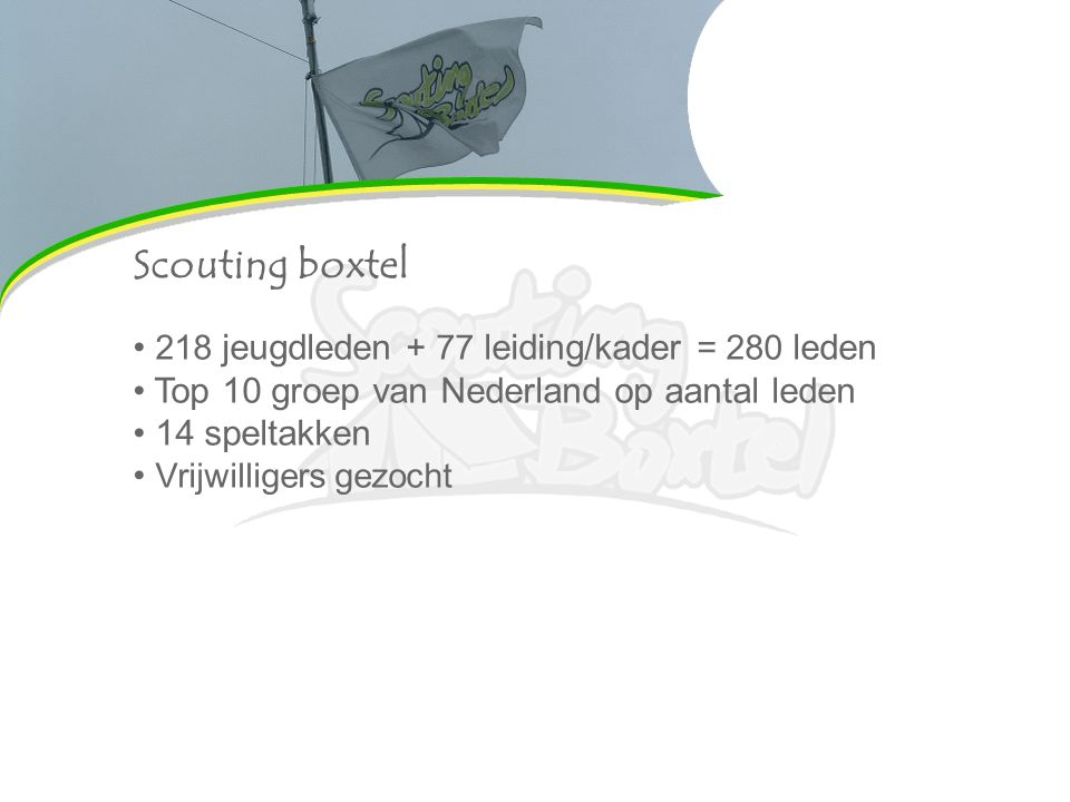 Contributie Contributie, € 30,50 per kwartaal: Materiaal Contributie Scouting Nederland Huur blokhut Groepsactiviteiten Bijdrage voor de speltakken (wij dus ) Eigen bijdragen: Weekenden Zomerkamp