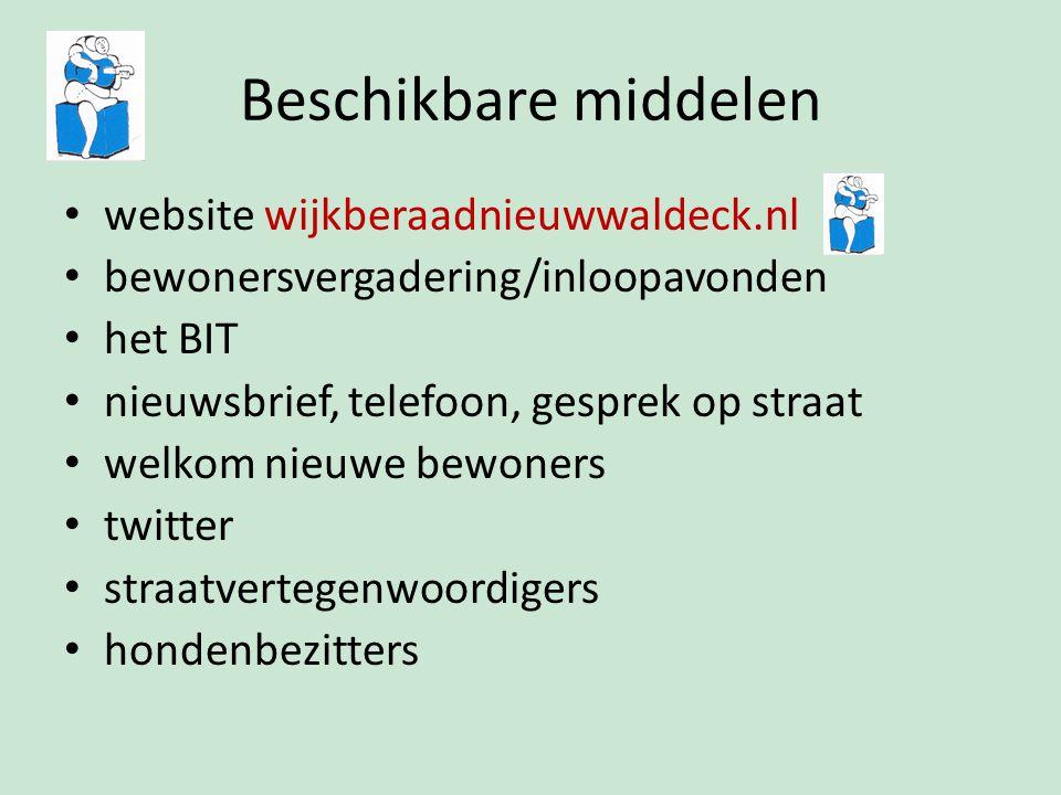Beschikbare middelen website wijkberaadnieuwwaldeck.nl bewonersvergadering/inloopavonden het BIT nieuwsbrief, telefoon, gesprek op straat welkom nieuwe bewoners twitter straatvertegenwoordigers hondenbezitters
