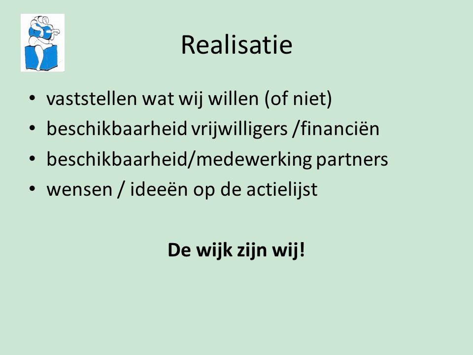 Realisatie vaststellen wat wij willen (of niet) beschikbaarheid vrijwilligers /financiën beschikbaarheid/medewerking partners wensen / ideeën op de actielijst De wijk zijn wij!