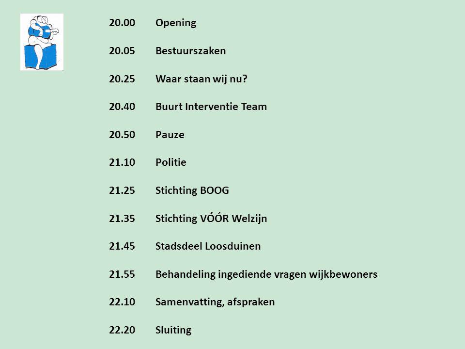 20.00 Opening 20.05 Bestuurszaken 20.25Waar staan wij nu? 20.40Buurt Interventie Team 20.50Pauze 21.10Politie 21.25Stichting BOOG 21.35Stichting VÓÓR