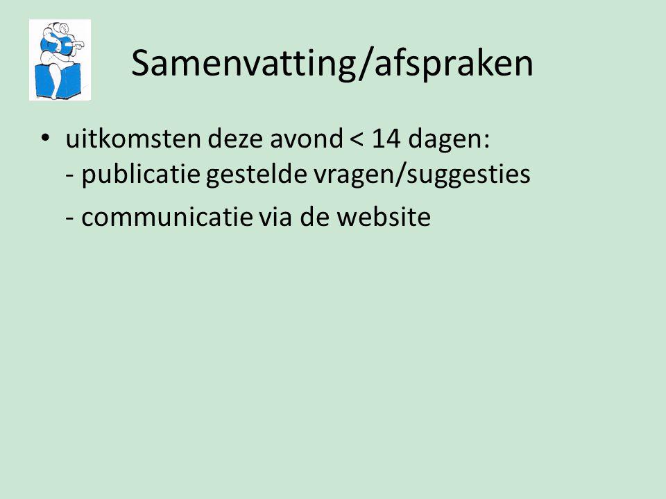 Samenvatting/afspraken uitkomsten deze avond < 14 dagen: - publicatie gestelde vragen/suggesties - communicatie via de website