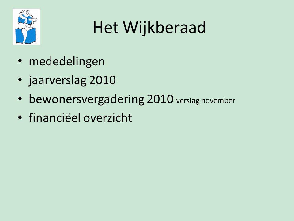 Het Wijkberaad mededelingen jaarverslag 2010 bewonersvergadering 2010 verslag november financiëel overzicht