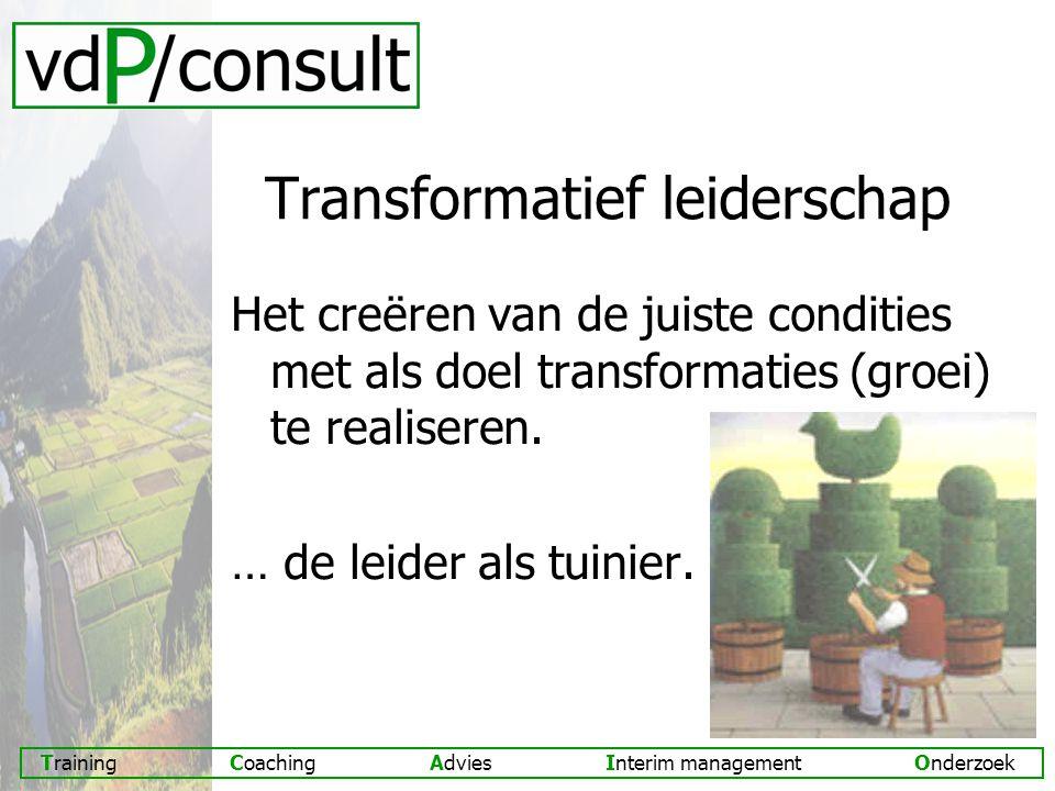 Training Coaching Advies Interim management Onderzoek Transformatief leiderschap Het creëren van de juiste condities met als doel transformaties (groei) te realiseren.