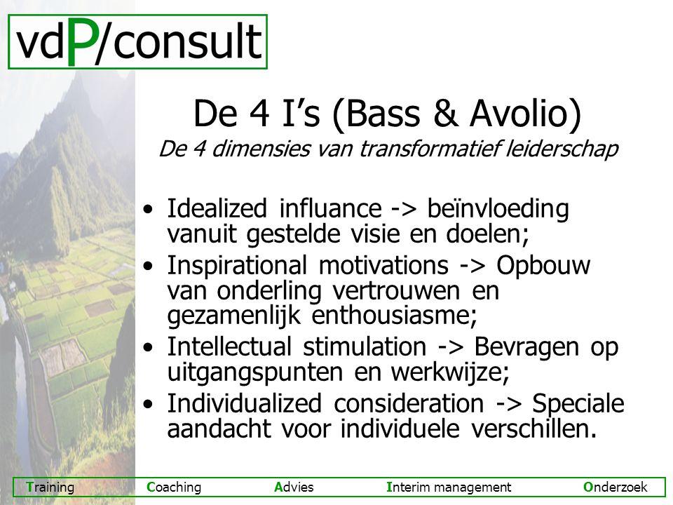 Training Coaching Advies Interim management Onderzoek De 4 I's (Bass & Avolio) De 4 dimensies van transformatief leiderschap Idealized influance -> beïnvloeding vanuit gestelde visie en doelen; Inspirational motivations -> Opbouw van onderling vertrouwen en gezamenlijk enthousiasme; Intellectual stimulation -> Bevragen op uitgangspunten en werkwijze; Individualized consideration -> Speciale aandacht voor individuele verschillen.