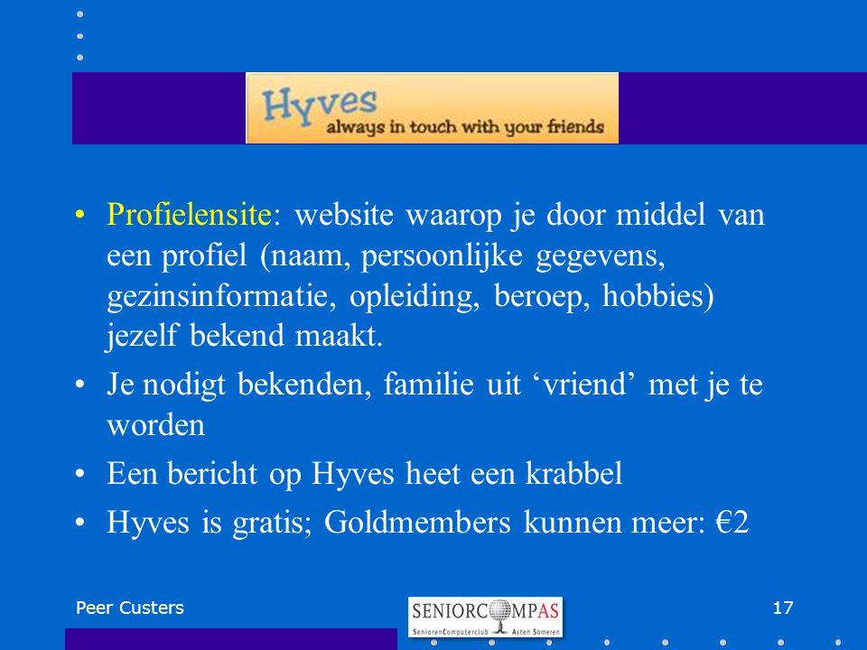 Profielensite: website waarop je door middel van een profiel (naam, persoonlijke gegevens, gezinsinformatie, opleiding, beroep, hobbies) jezelf bekend